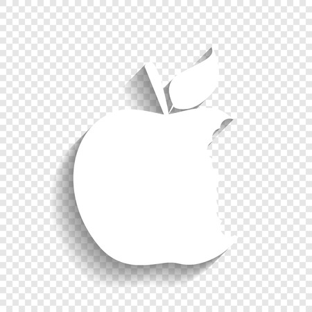 fresh idea: Bited apple sign. Vector. White icon with soft shadow on transparent background. Illustration