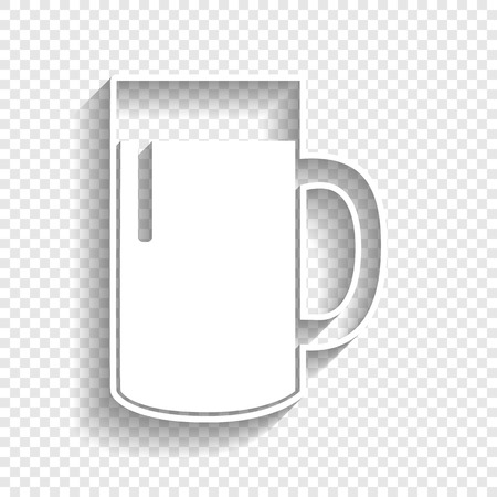 beers: Beer glass sign. Vector. White icon with soft shadow on transparent background. Illustration