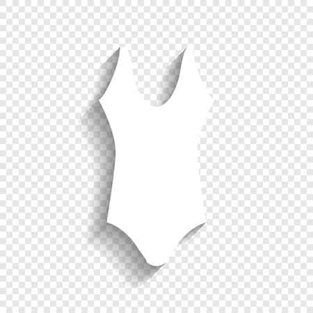 Womans swimsuit sign. Vector. White icon with soft shadow on transparent background. Иллюстрация