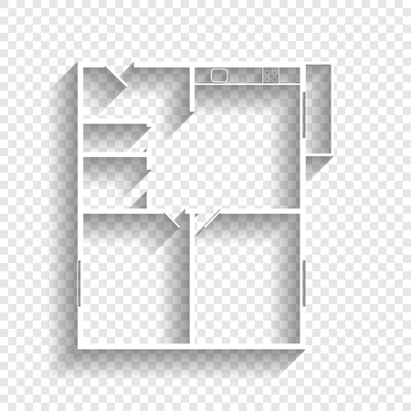 modern interior: Apartment house floor plans. Vector. White icon with soft shadow on transparent background.
