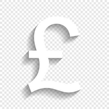 Turkish lira sign. Vector. White icon with soft shadow on transparent background. Illustration
