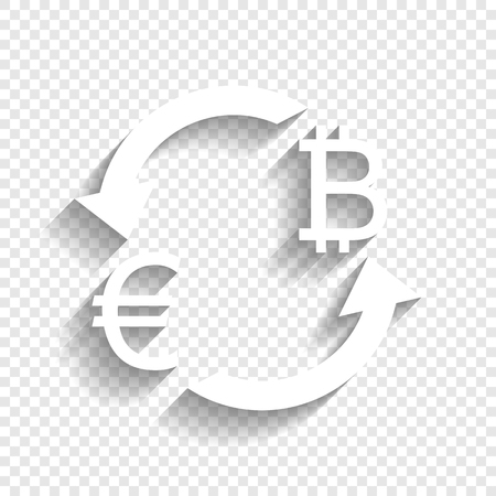 yen: Currency exchange sign. Euro and Bitcoin. Vector. White icon with soft shadow on transparent background.
