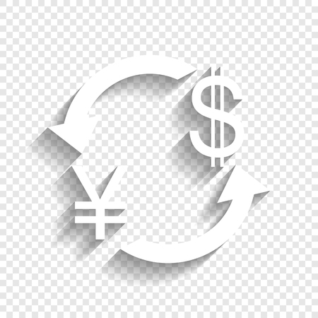 Currency exchange sign. Japan Yen and US Dollar. Vector. White icon with soft shadow on transparent background.