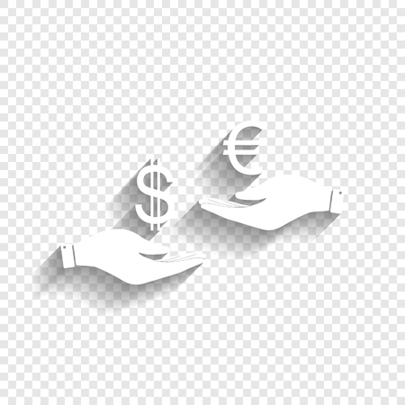 Currency exchange from hand to hand. Dollar adn Euro. Vector. White icon with soft shadow on transparent background.