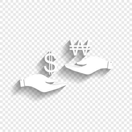yen: Currency exchange from hand to hand. Dollar and South Korea Won. Vector. White icon with soft shadow on transparent background.