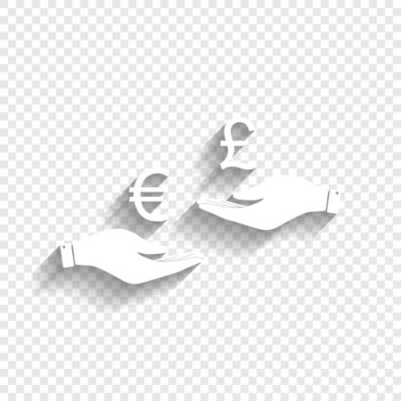 yen: Currency exchange from hand to hand. Euro and Pound. Vector. White icon with soft shadow on transparent background. Illustration