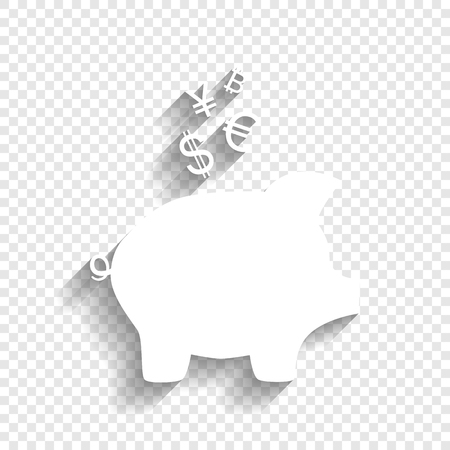 Piggy bank sign with the currencies. Vector. White icon with soft shadow on transparent background.