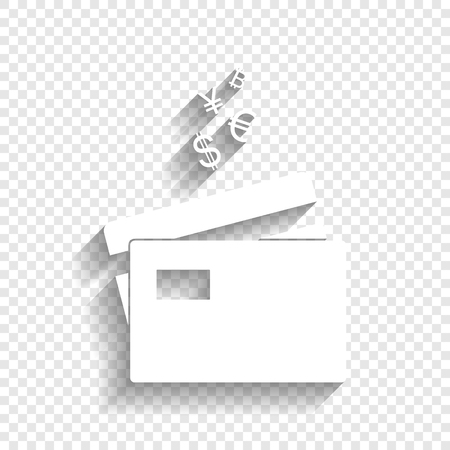 Credit cards sign with currency symbols. Vector. White icon with soft shadow on transparent background. Illustration
