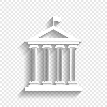 Historisch gebouw met vlag. Vector. Wit pictogram met zachte schaduw op transparante achtergrond.