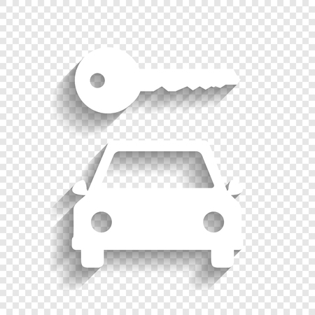 rent index: Car key simplistic sign. Vector. White icon with soft shadow on transparent background.