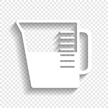 ml: Beaker sign. Vector. White icon with soft shadow on transparent background. Illustration