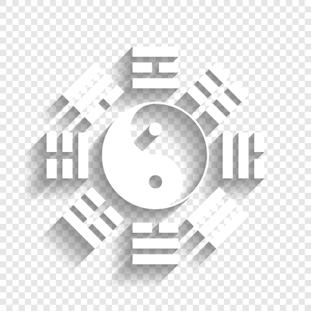 taijitu: Yin and yang sign with bagua arrangement. Vector. White icon with soft shadow on transparent background.