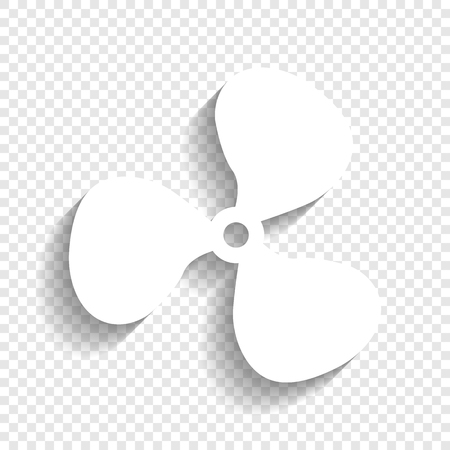 blower: Fan sign. Vector. White icon with soft shadow on transparent background.