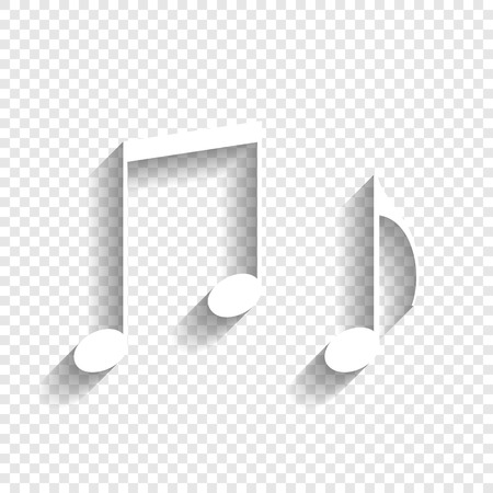 Music notes sign. Vector. White icon with soft shadow on transparent background.
