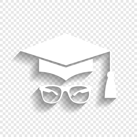 tutor: Mortar Board or Graduation Cap with glass. Vector. White icon with soft shadow on transparent background.