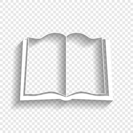 Book sign. Vector. White icon with soft shadow on transparent background.