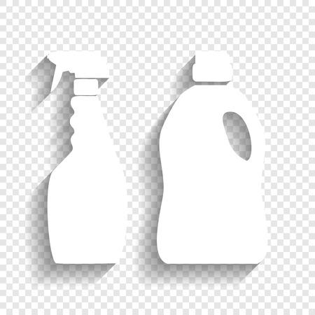 Signo de botellas de productos químicos domésticos. Vector. Icono blanco con suave sombra sobre fondo transparente. Foto de archivo - 80931309