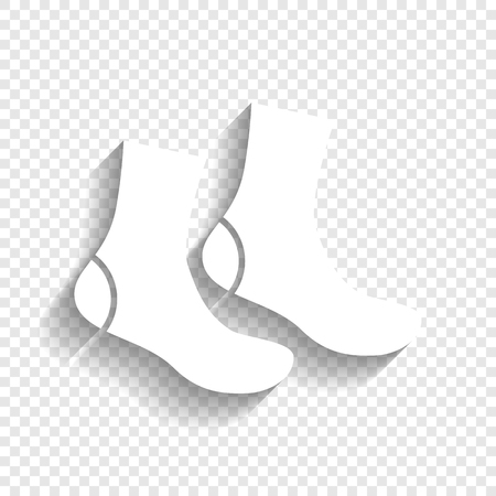 Socks sign. Vector. White icon with soft shadow on transparent background.