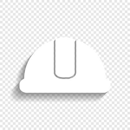 ヘルメットの標識です。ベクトル。透明な背景にソフト シャドウのついた白いアイコン。