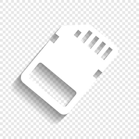 adapters: Memory card sign. Vector. White icon with soft shadow on transparent background. Illustration
