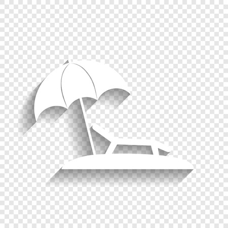 daybed: Tropical resort beach. Sunbed Chair sign. Vector. White icon with soft shadow on transparent background. Illustration