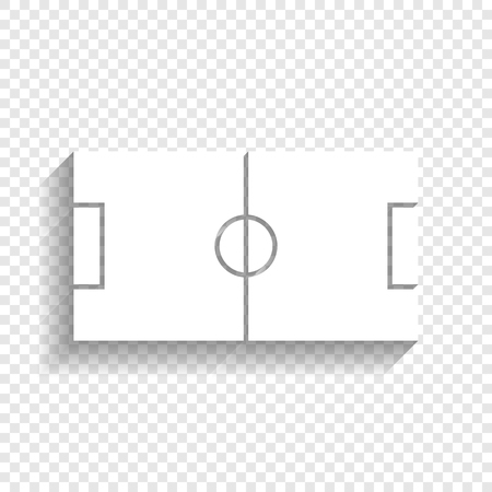 soccer goal: Soccer field. Vector. White icon with soft shadow on transparent background.