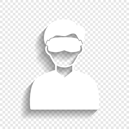 asleep: Man with sleeping mask sign. Vector. White icon with soft shadow on transparent background. Illustration