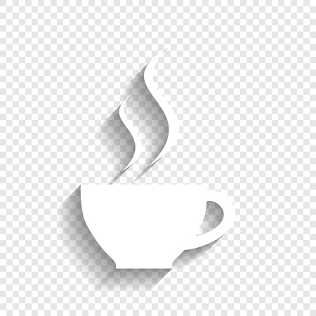 long bean: Cup sign with two small streams of smoke. Vector. White icon with soft shadow on transparent background.