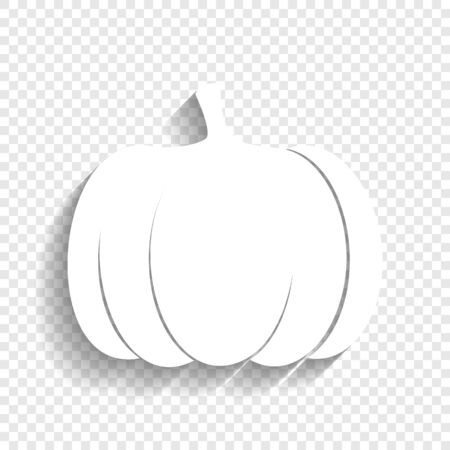 Pumpkin sign. Vector. White icon with soft shadow on transparent background. Illustration