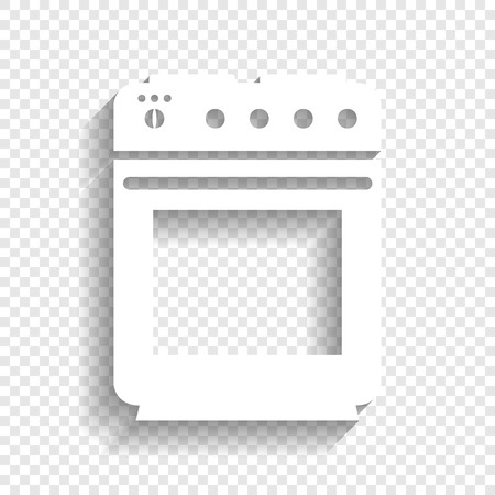 Stove sign. Vector. White icon with soft shadow on transparent background.