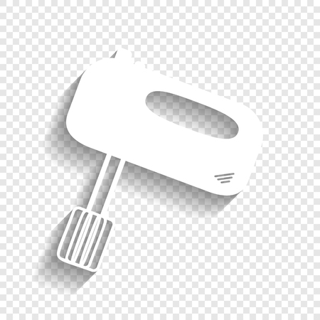 Kitchen mixer sign. Vector. White icon with soft shadow on transparent background. Illustration