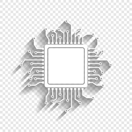 CPU Microprocessor illustration. Vector. White icon with soft shadow on transparent background.