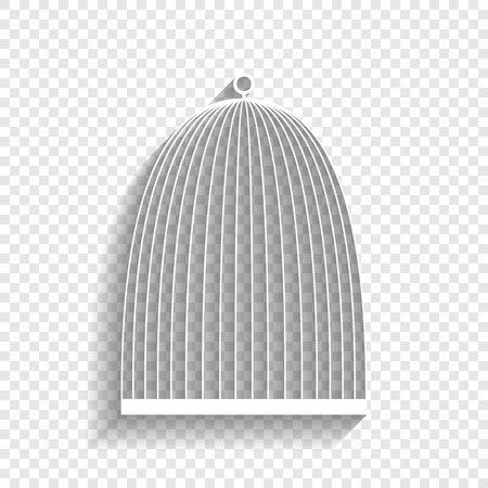 Bird cage sign. Vector. White icon with soft shadow on transparent background.
