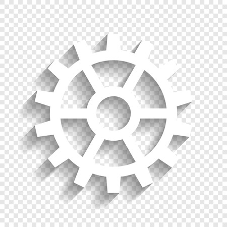 Gear sign. Vector. White icon with soft shadow on transparent background. Çizim