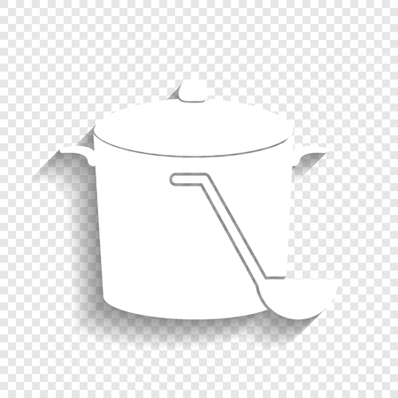 Pan with steam sign. Vector. White icon with soft shadow on transparent background.