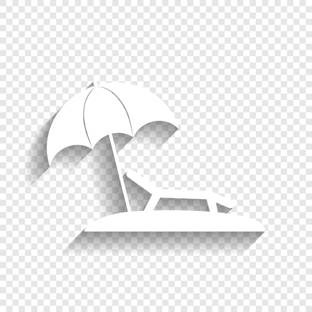 brolly: Tropical resort beach. Sunbed Chair sign. Vector. White icon with soft shadow on transparent background. Illustration