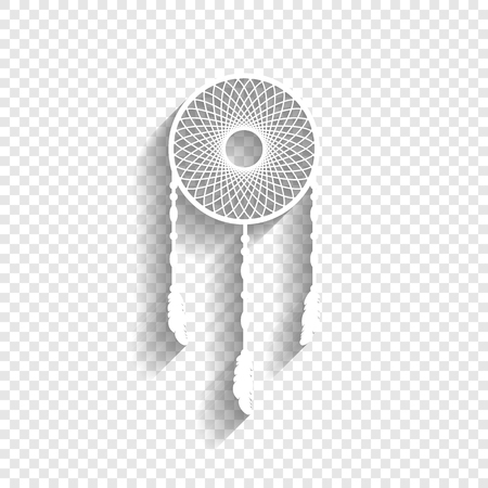 fasten: Dream catcher sign. Vector. White icon with soft shadow on transparent background. Stock Photo
