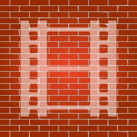 rectangle button: Reel of film sign. Vector. Whitish icon on brick wall as background.