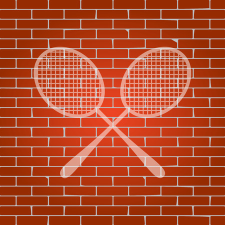 Two tennis racket sign. Vector. Whitish icon on brick wall as background.