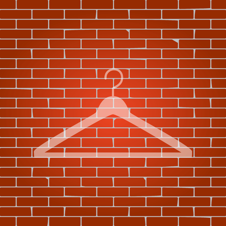 hangers: Hanger sign illustration. Vector. Whitish icon on brick wall as background. Illustration