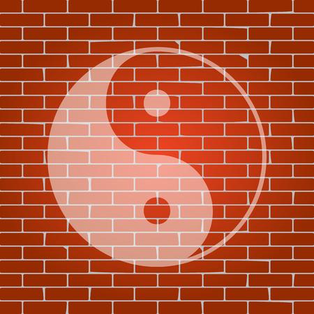 Ying yang symbol of harmony and balance. Vector. Whitish icon on brick wall as background. Illustration