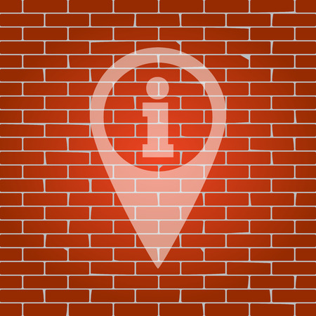 needle tip: Map pointer with information sign. Vector. Whitish icon on brick wall as background. Illustration