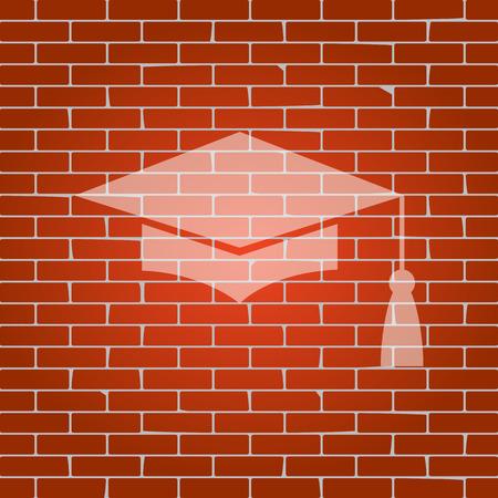 brick and mortar: Mortar board or graduation cap, education symbol on brick wall.