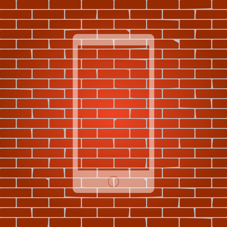 responsive: Abstract style modern gadget with blank screen. Template for any content. Vector. Whitish icon on brick wall as background.