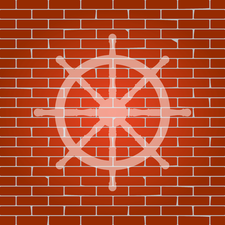 con: Ship wheel sign. Vector. Whitish icon on brick wall as background.