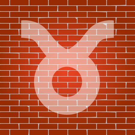 Taurus sign illustration. Vector. Whitish icon on brick wall as background.