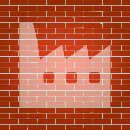 Factory sign illustration. Vector. Whitish icon on brick wall as background. Illustration