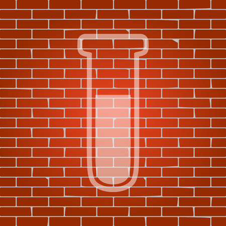 Medical Tube icon. Laboratory glass sign. Vector. Whitish icon on brick wall as background. Çizim