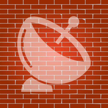 wireless signal: Satellite dish sign. Vector. Whitish icon on brick wall as background.