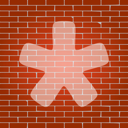 Asterisk star sign. Vector. Whitish icon on brick wall as background. Иллюстрация
